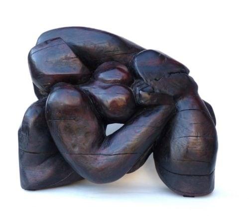 Femme contortionnée 2. Chène. H 0m 40.